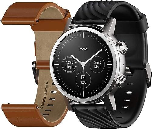 Motorola Moto 360 3ème génération Smartwatch – Boîtier en acier inoxydable avec bandes de 20 mm, batterie toute la jo...