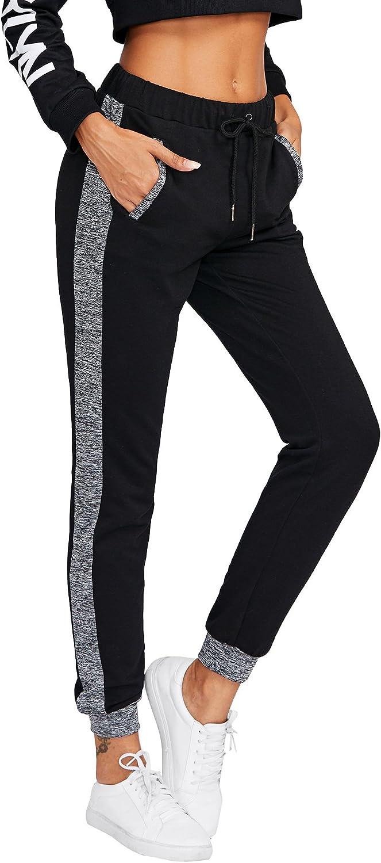 SweatyRocks Women Pants color block Casual Tie Waist Yoga Jogger Pants Black  3 M