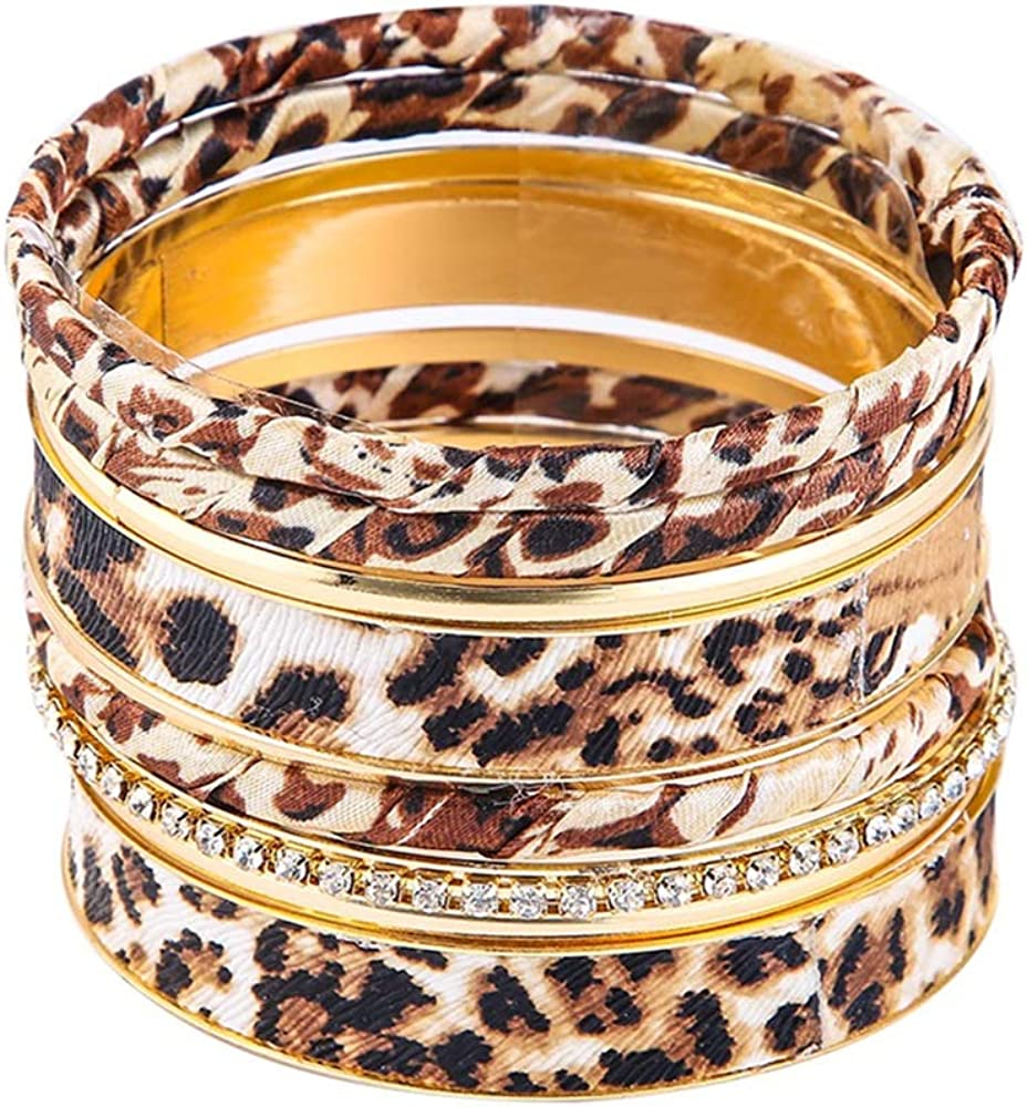 The Woo's Leopard Bangle Bracelets Multi Layers Casual Bracelet Vintage Crystal Metal Leopard Wrapped Cuff Bracelets for Women Girl Statement Jewelry Charm Fashion Accessories Party