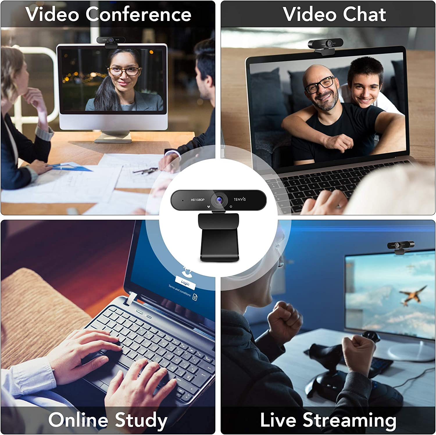 Streaming Camera with Microphone Plug /& Play with Tripod PC//Win//Mac OS//Skype//Zoom//YouTube Low Light Correction TENVIS 1080P Webcam FULL HD Webcam with 120/° Wide Angle Business Conference Live