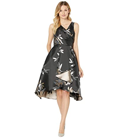 Adrianna Papell Jacquard Fit and Flare Cocktail Dress (Black/Champagne) Women
