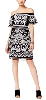 INC Black White Womens US Size Medium M Embroidered Sheath Dress