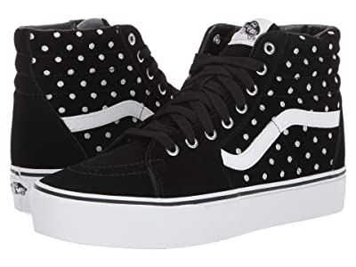 Vans SK8-Hi Platform 2.0 ((Suede Polka Dot) Black/True White) Skate Shoes