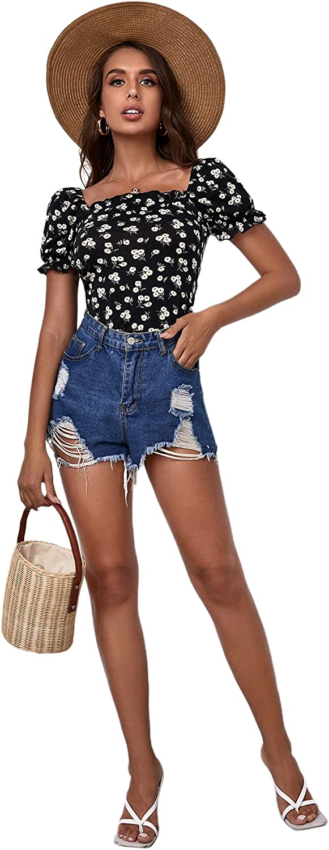 Milumia Women's Floral Print Square Neck Ruffle Trim Short Sleeve Bodysuit Top