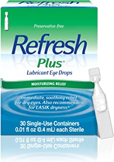 Refresh Plus Lubricant Eye Drops, Preservative-Free, 0.01 Fl Oz Single-Use Containers, 30 Count
