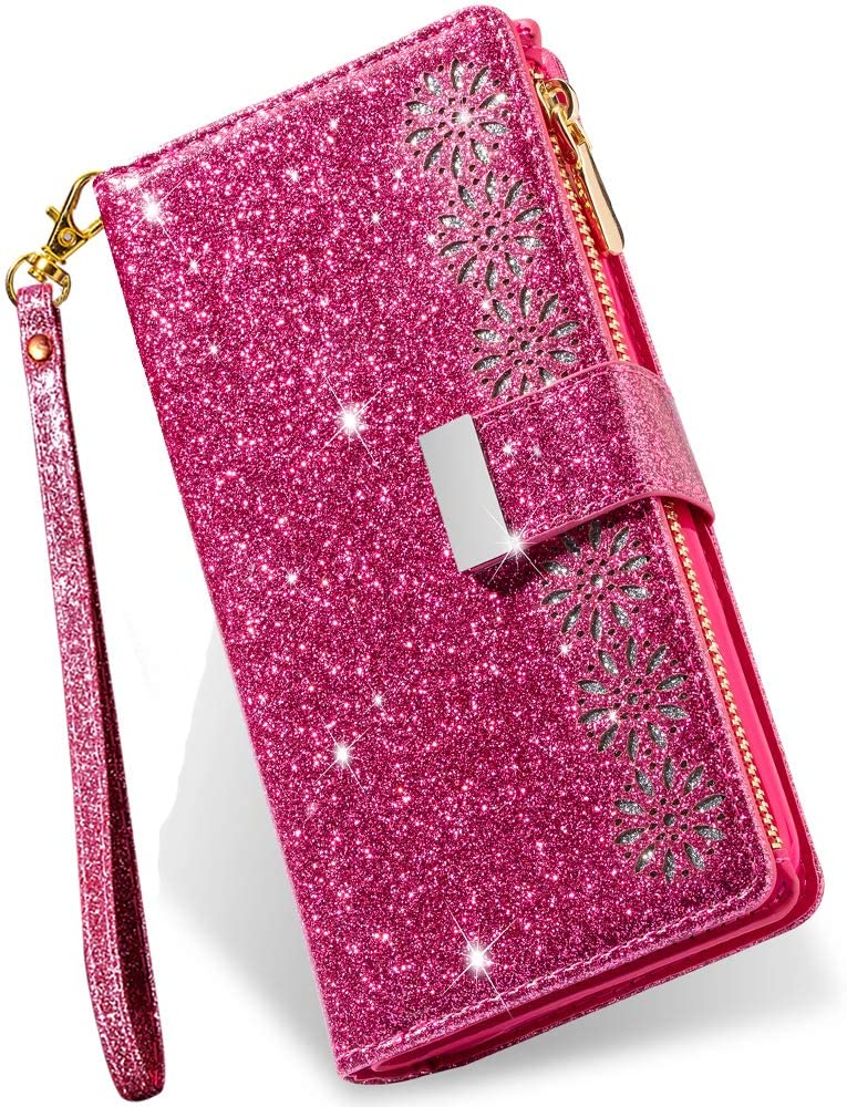 iPhone SE 2020 Wallet Case for Women,iPhone 8 Case with Card Holder,Kudex Glitter Sparkly Bling Leather Flip Magnetic Stand Zipper Pocket Case Purse with 9 Card Slot Wrist Strap for iPhone 7(Rose)