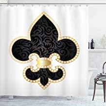 Ambesonne Fleur De Lis Shower Curtain, Royal Lily France Empire Family Insignia Design Image, Cloth Fabric Bathroom Decor Set with Hooks, 75