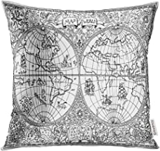 Golee Throw Pillow Cover Graphic of Ancient Atlas Map World with Mystic Symbols Vintage Pirate Adventures Treasure Hunt and Old Decorative Pillow Case Home Decor Square 16x16 Inches Pillowcase