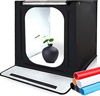 撮影ボックス SAMTIAN 40cm 簡易スタジオ 撮影スタジオ 6色背景布  撮影ブーツ 撮影キット 物撮り 調光器付き 光度調整可能 マルチアングル撮影 30W5500K 56PCS LEDライト搭載 6折り畳み式 軽便携帯型 組み立て簡単