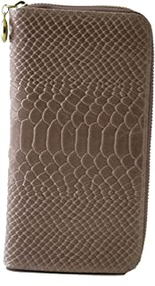 Made In Italy Genuine Leather Python Printed Woman Wallet Color Champagne Pink - Accessories