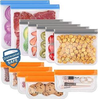Dishwasher Safe Reusable Storage Bags,12 Pack BPA Free Reusable Freezer Bags (5 Reusable Sandwich Bags, 5 Reusable Snack B...