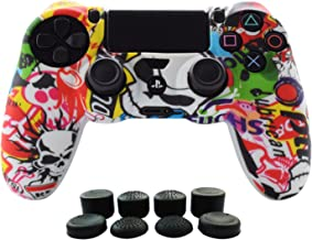 PS4 Controller Grip,Hikfly Skin Silicone Gel Controller Cover Case Protector Compatible for PS4/PS4 Slim/PS4 Pro Controller (1x Controller Cover with 8 x FPS Pro Thumb Grip Caps)(White Cartoon)