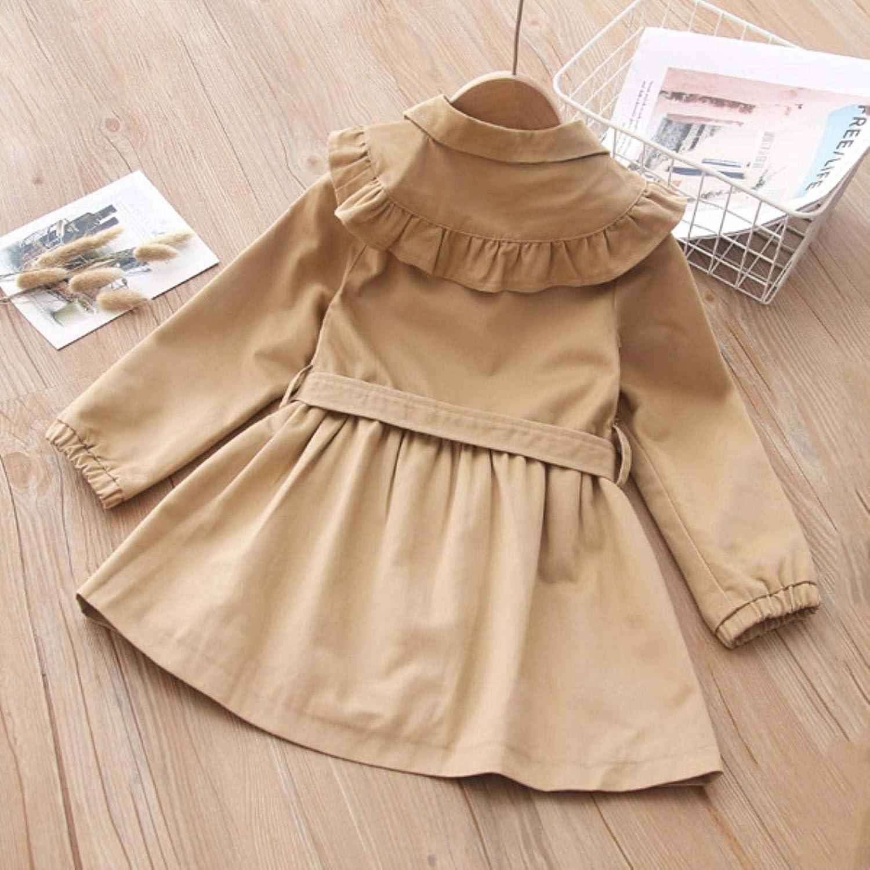 Girls' long windbreaker Ruffle collar coat