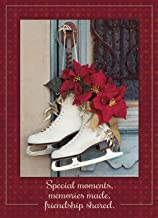 Legacy Publishing Group Ice Skates With Poinsettias Deluxe Boxed Christmas Cards, 6.2 x 6.8