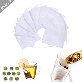 300 piezas Bolsita de te de Filtro Bolsita de té de las Hojas Bolsas de Filtro de Papel, Bolsas de Papel del Filtro de Té de Bombeo Línea de Desechable 5 * 7 cm / 7 * 9 cm / 8 * 10 cm (Blanco)