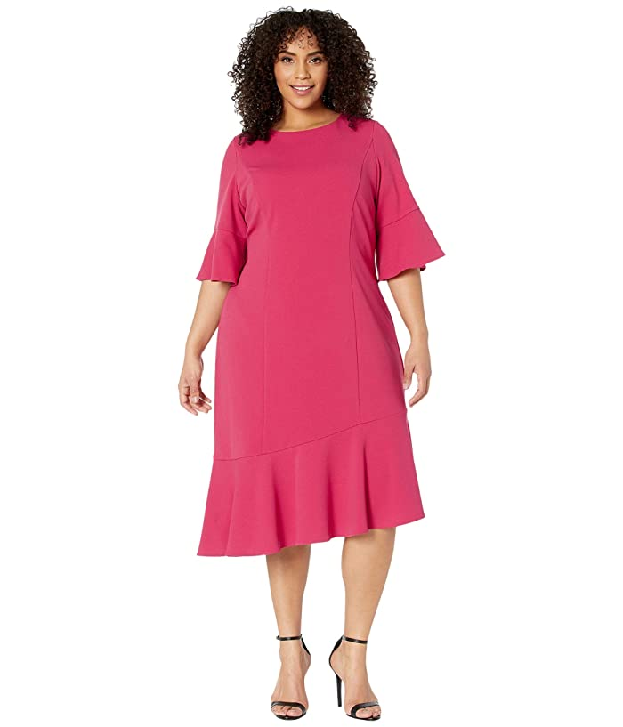 Adrianna Papell  Plus Size Knit Crepe Ruffle Midi Dress with Bell Sleeve (Warm Cherry) Womens Dress