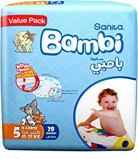 Sanita Bambi Baby Diapers Value Pack Size 5, X-Large, 13-25 KG, 28 Count