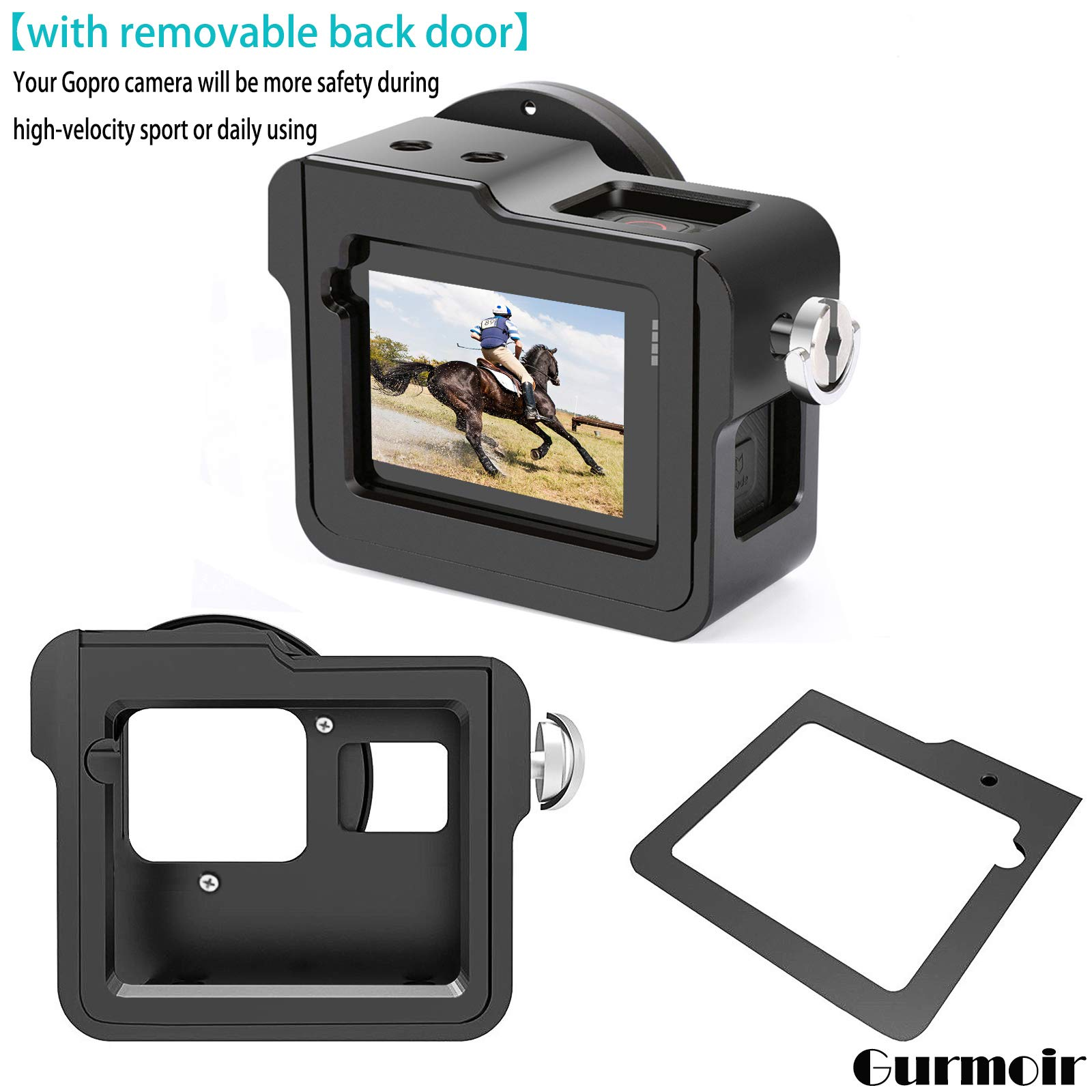 Wire Connectable Protective Metal Side Open Shell with 52mm UV Filter for Gopro Hero 8 Gurmoir Back Door Case Aluminum Alloy Frame Housing for Gopro Hero 8 Black Action Camera
