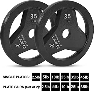 """Day 1 Fitness Cast Iron Olympic 2-Inch Grip Plate for Barbell, 2.5 Pound Single Plate Iron Grip Plates for Weightlifting, Crossfit - 2"""" Weight Plate for Bodybuilding"""