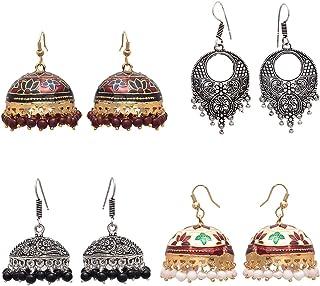 Geode Delight 2 Oxidized Silver Plated Jhumki 2 Golden Meenakari Jhumki Earring For Women & Girls Set of 4