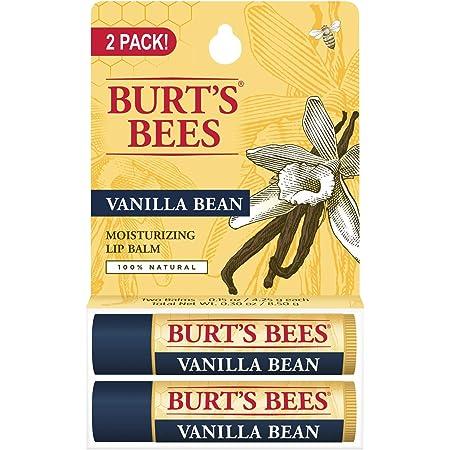 Burt's Bees Lip Balm Stocking Stuffer, Moisturizing Lip Care Holiday Gift, 100% Natural, Vanilla Bean (2 Pack)