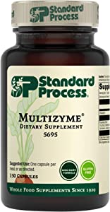 Standard Process Multizyme - Whole Food Pancreas Support, Pancreatin Digestive Enzymes, Digestive Health and Pancreatic Enzymes with Cellulase, Papain, Amylase, Lipase and More - 150 Capsules