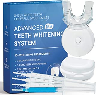 AsaVea Premium Teeth Whitening Kit, LED Light, At-Home System Without Pain or Sensitivity, Effectively Removes Stains for Whiter Teeth