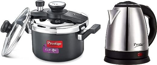 Prestige Clip-on Mini Hard Anodised Aluminium Pressure Cooker, 3 litres, Black and Electric Kettle PKOSS - 1500watts, Steel (1.5Ltr), Black Combo
