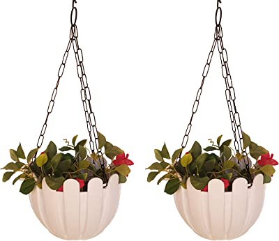 Wonderland (Set of 2) French nest Premium Plastic Hanging Basket with Chain in White