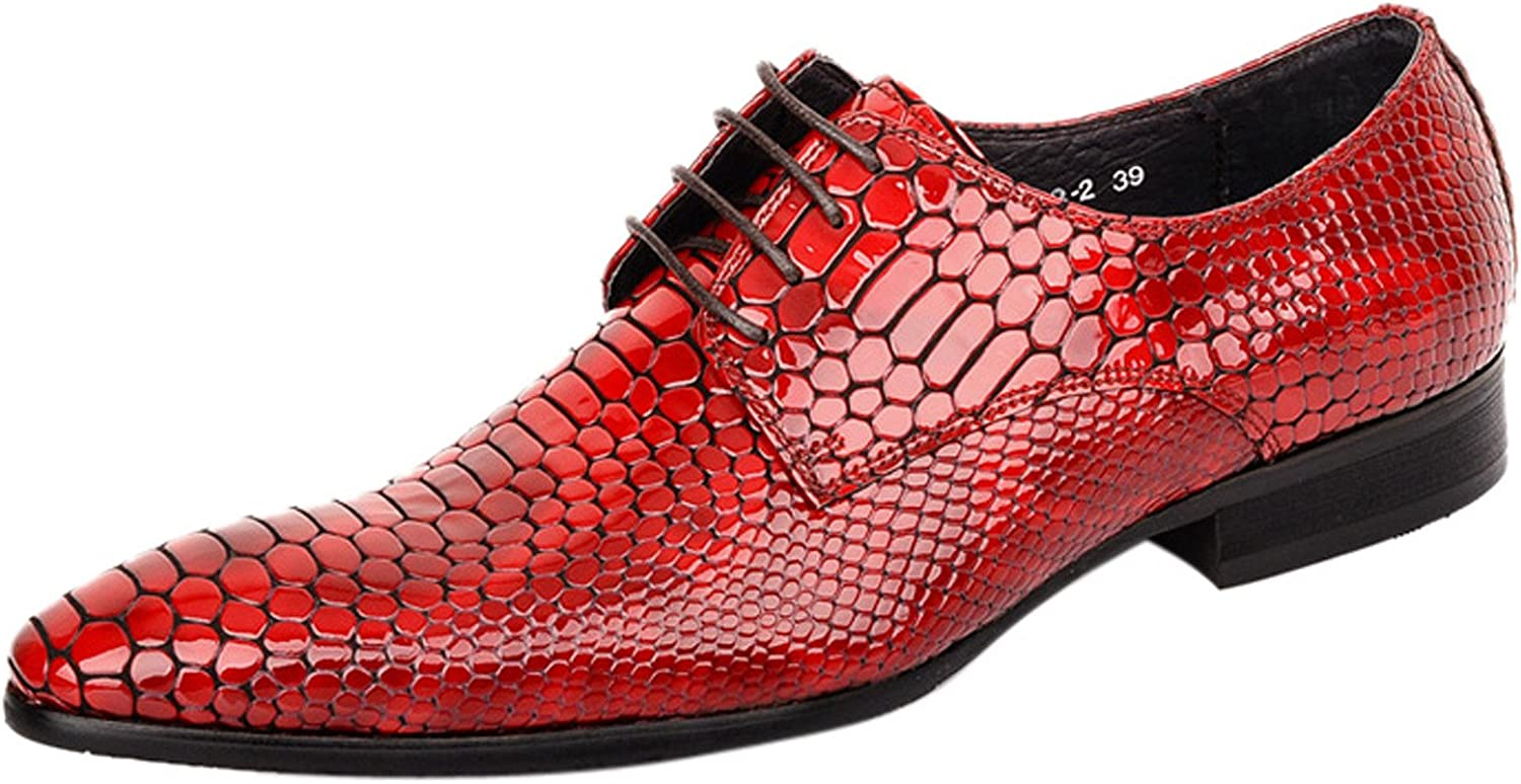LIVEINU Men's Snake Pattern Exotic Lace Up Dress Oxford shoes