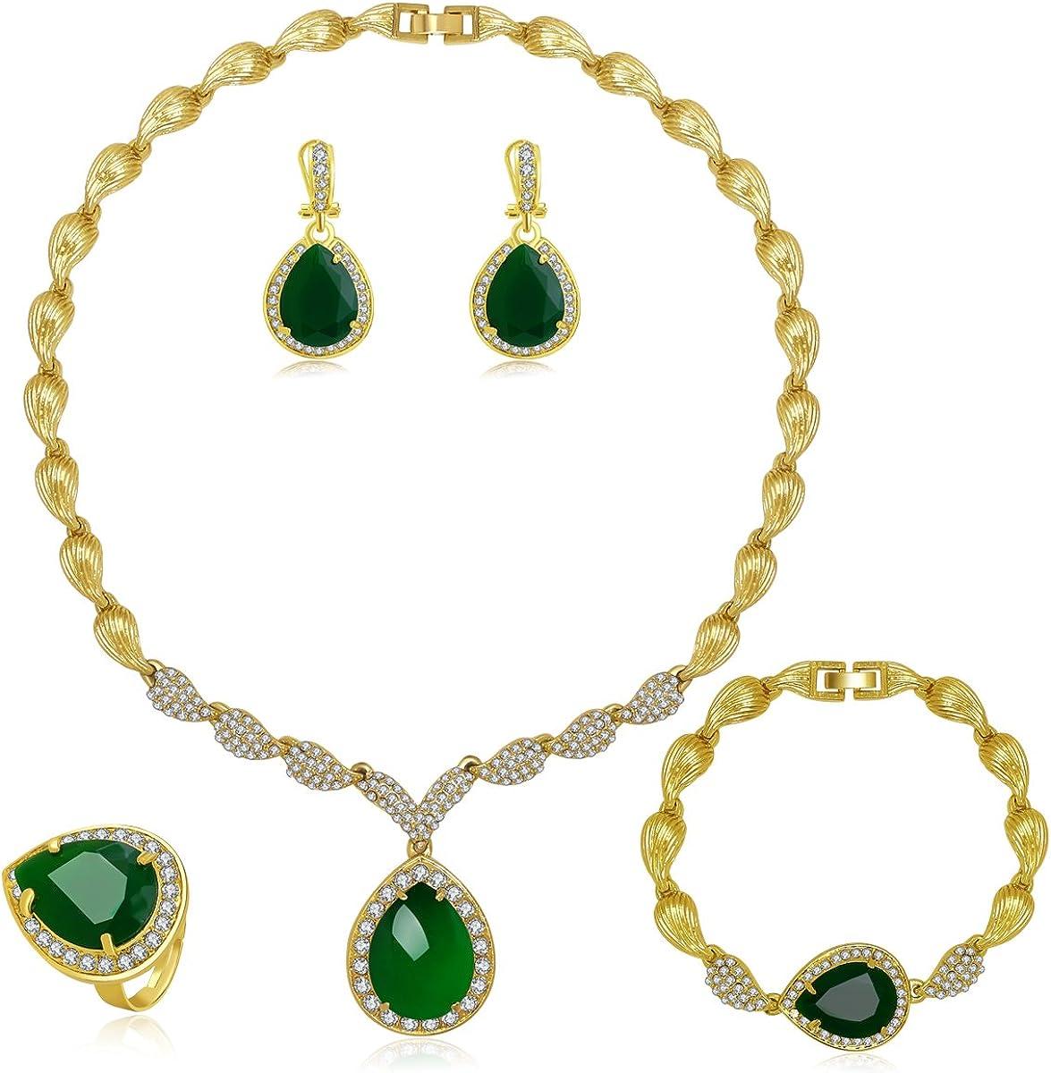 MOOCHI Women Gold Plated Green/Red Cubic Zirconia Teardrop Pendant Rhinestone Jewelry Set Necklace Earrings Bracelet Ring for Wedding Costume Statement