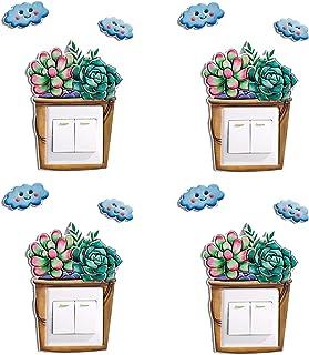QLTY 4 pcs Simplicidad Moderna Pegatinas de Interruptor de luz,Decoración Etiqueta engomada del zócalo,Creatividad Tridime...