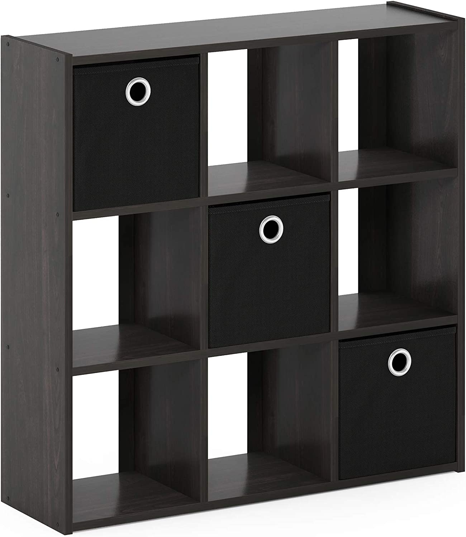 lowest price Furinno 13207EX BK Simplistic 9-Cube Organizer with 2021 Bins Espres