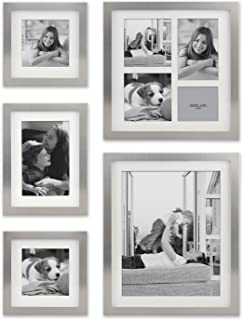 Stonebriar Decorative Stamped Silver 5 Piece Photo Frame Set, Wall Hanging Display, Modern Gallery Wall Set, Gift Idea for Engagements, Weddings, and Birthdays