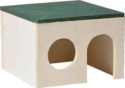 dobar 80006 Petit abri de Jardin en Bois avec Toit Plat Vert 12 x 12 x 8,2 cm