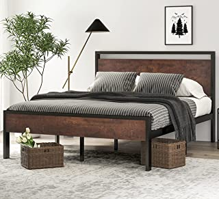 SHA CERLIN 14 Inch Queen Size Metal Platform Bed Frame with Wooden Headboard and Footboard, Mattress Foundation / No Box S...