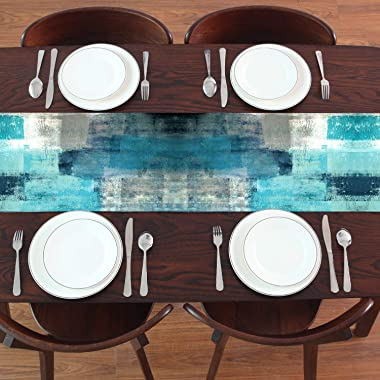 GALMAXS7 Modern Art Table Runner Farmhouse Style Burlap Table Runner Turquoise and Grey Abstract Art Painting Teal Table Runn