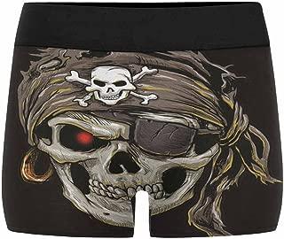 INTERESTPRINT Boxer Briefs Men's Underwear Pirate Skull with Black Bandana (XS-3XL)