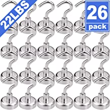 FINDMAG 22LBS Heavy Duty Magnetic Hooks, Strong Neodymium Magnet Hook for Home, Kitchen, Workplace, Office and Garage, 26 Pack