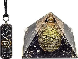 オルゴンペンダント ピラミッド ブラックトルマリン - 正のオルゴンエネルギー 瞑想の穏やかさに - トルマリンオルゴナイトペンダント ヒーリングクリスタルピラミッド - オルゴナイトピラミッド トルマリンネックレスコンボ 女性用