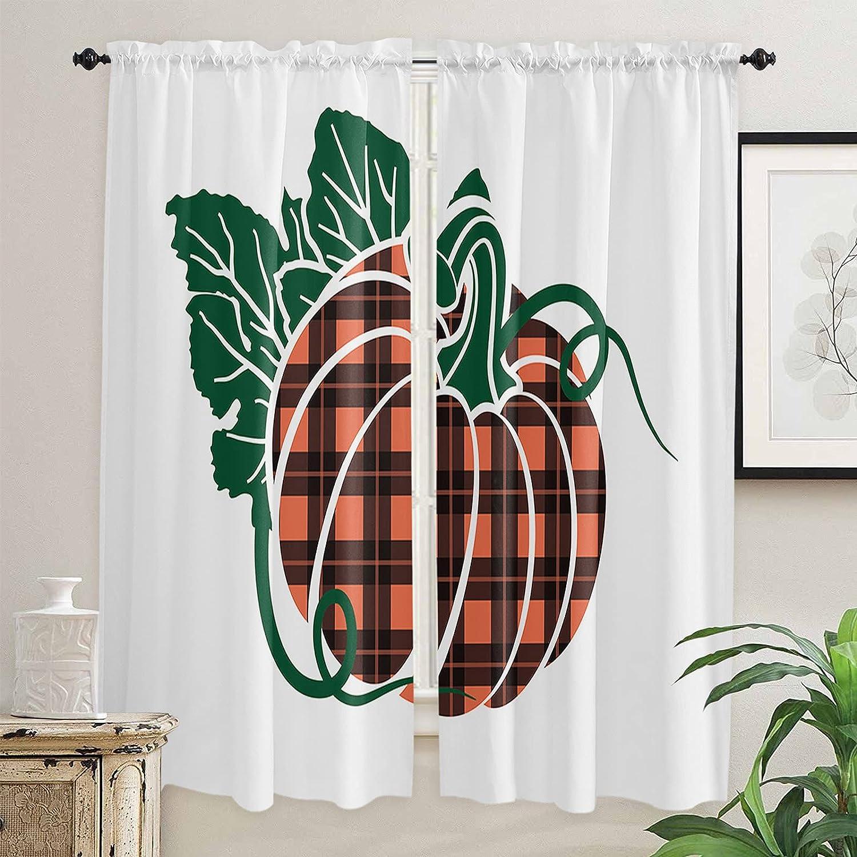 Autumn Choice Buffalo Checkered Pumpkin Kitchen Curtains Max 76% OFF 72 Inch Length