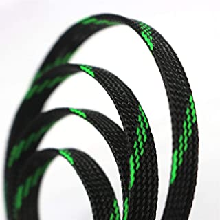 "30ft PET Expandable Sleeving Flexo Wire Cable Sleeve (1/2"", Green&Black)"
