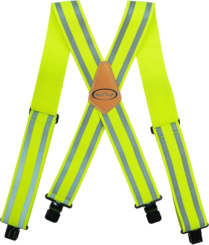 Reflective Safety Suspenders Work Suspenders with Hi Viz Reflective Strip Hold Up Tool Belt Suspenders