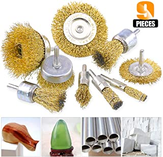 Rustark 9 Packs Wire Drill Brush Sets 9 Size Brass Coated Wire Wheel and Cup Brush Set with 1/4 Inch Round Shank for Rust Paint Corrosion Removal Polishing