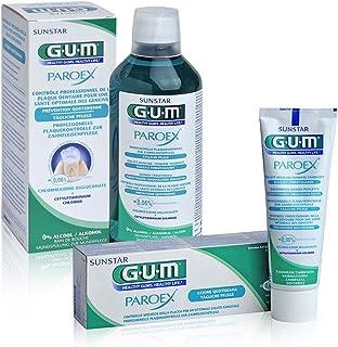 Gum Paroex tandpasta + mondspoeling 0,06% CHX verzorgingsset voor gezond tandvlees