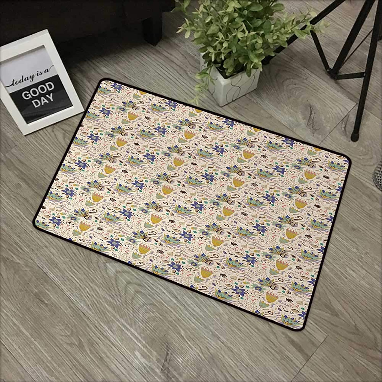 Door mat W35 x L59 INCH Botanical,Abstract and Artistic Floral Pattern on Pastel Background Romantic Summer Garden,Multicolor Non-Slip Door Mat Carpet