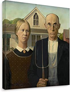 Niwo Art - American Gothic, World's Most Famous Paintings Series, Canvas Wall Art Home Decor, Gallery Wrapped, Stretched, Framed Ready to Hang (16