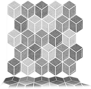 Tic Tac Tiles 6-Sheet Peel and Stick Self Adhesive Removable Stick On Kitchen Backsplash Bathroom 3D Wall Sticker Wallpaper Tiles in Cube Grigio