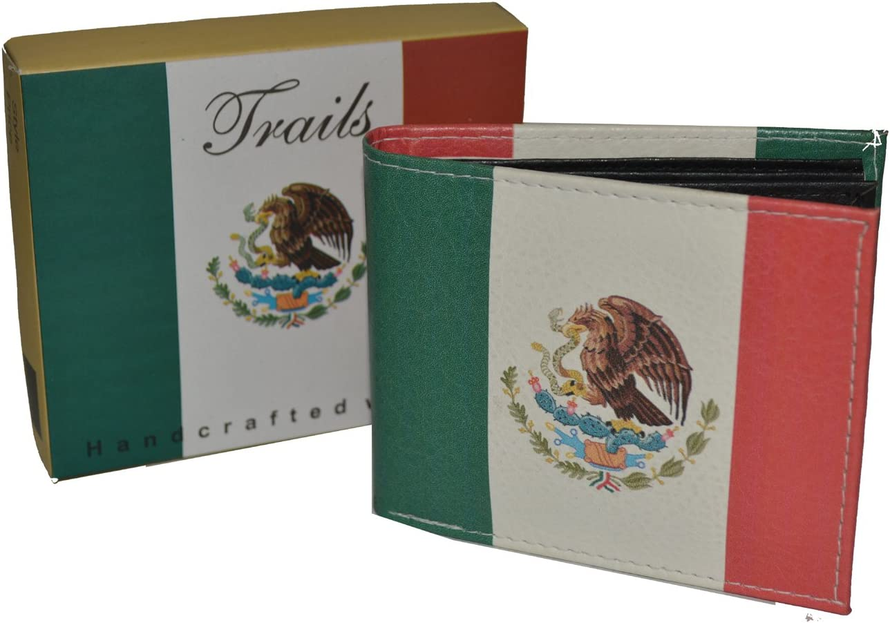 Mens Bifold Exotic Wallet Picture Mexican Flag with printed gift box