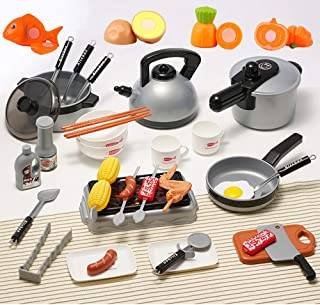 OMGOD 39 PCS Kids Kitchen Playsets Pretend Play Toys, Play House Toy Breakfast Stove Pots Utensils and Pans Food Pretend Cookware Cooking Play Kitchen Set for 3, 4, 5 Years Kids Girls Boys Toddlers
